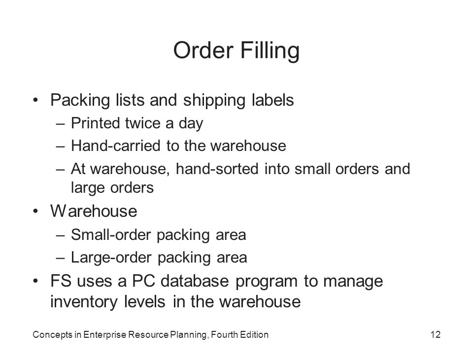 Order Filling Packing lists and shipping labels Warehouse