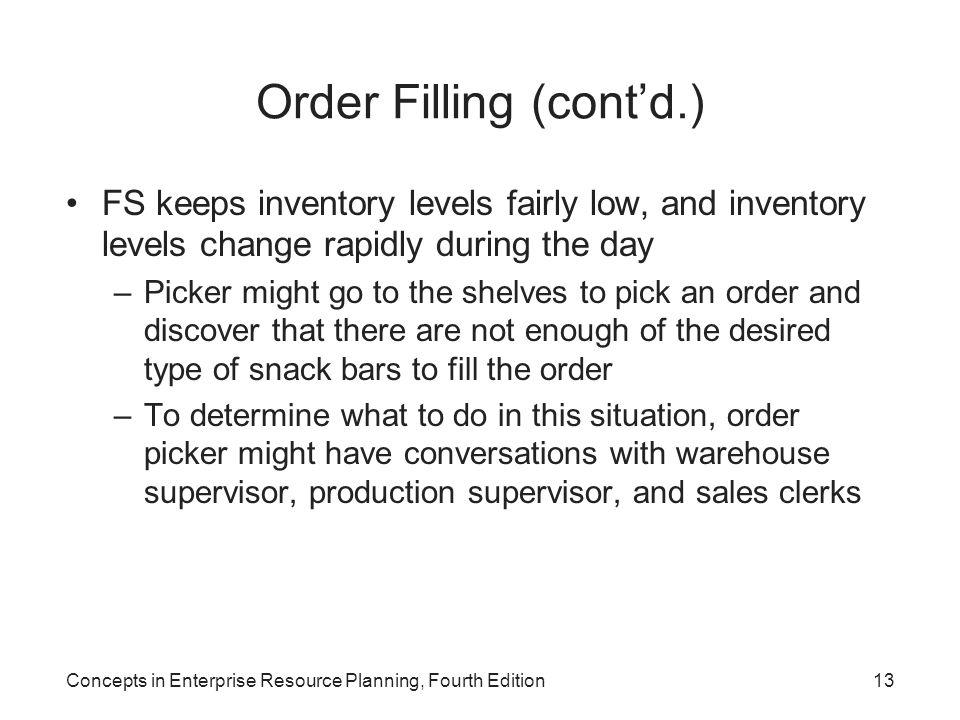 Order Filling (cont'd.)