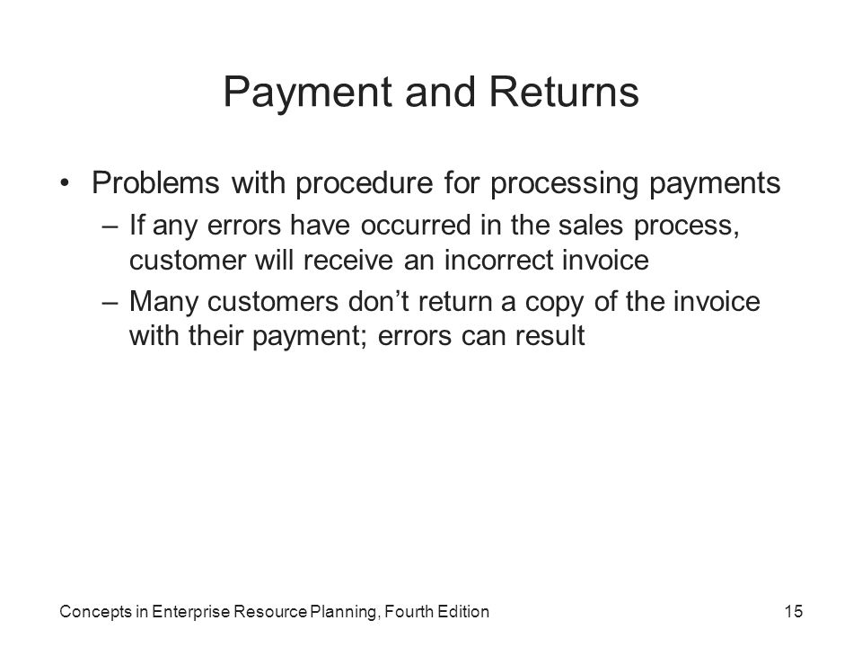 Payment and Returns Problems with procedure for processing payments