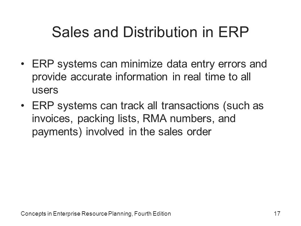 Sales and Distribution in ERP