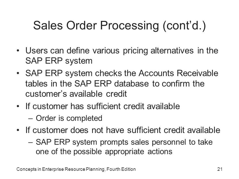 Sales Order Processing (cont'd.)