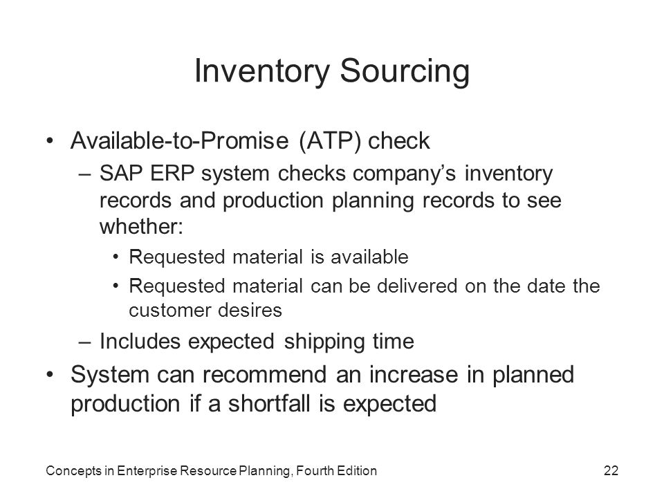 Inventory Sourcing Available-to-Promise (ATP) check