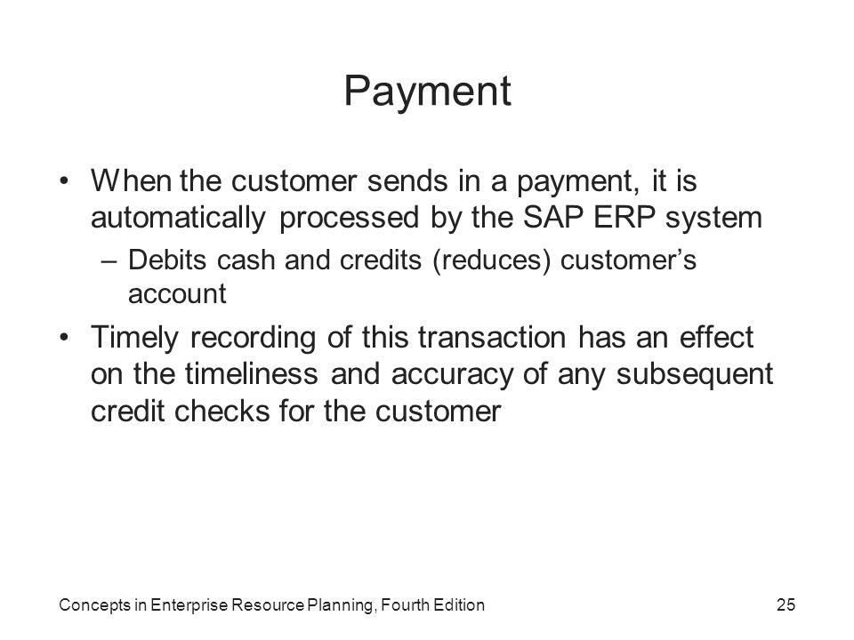 Payment When the customer sends in a payment, it is automatically processed by the SAP ERP system.