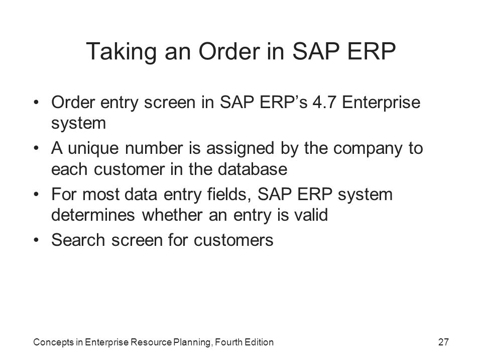 Taking an Order in SAP ERP
