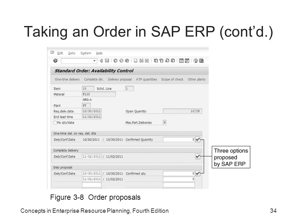 Taking an Order in SAP ERP (cont'd.)