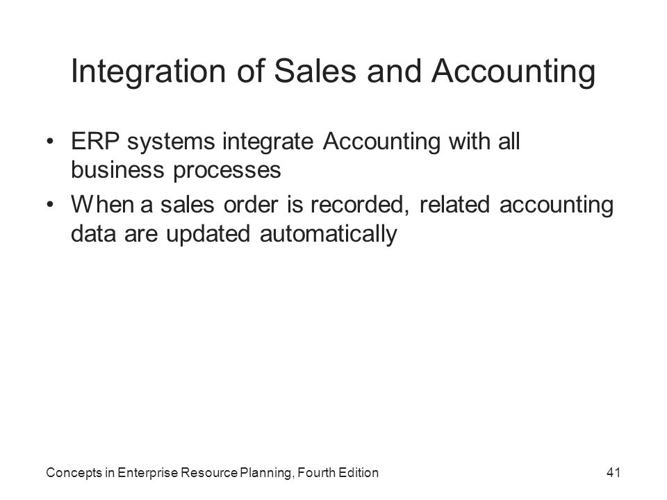 Integration of Sales and Accounting