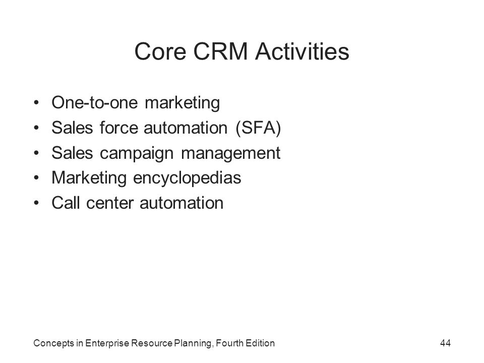 Core CRM Activities One-to-one marketing Sales force automation (SFA)