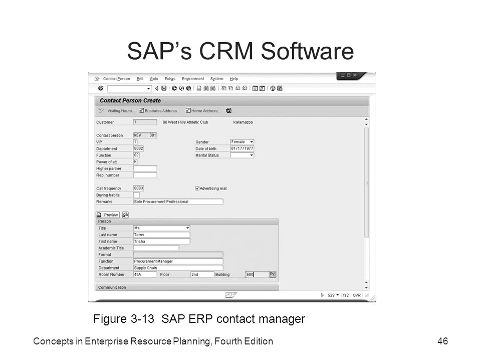 SAP's CRM Software Figure 3-13 SAP ERP contact manager