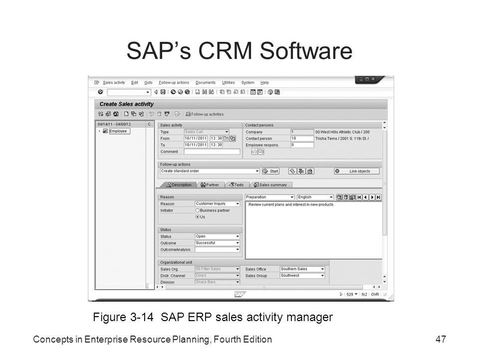 SAP's CRM Software Figure 3-14 SAP ERP sales activity manager