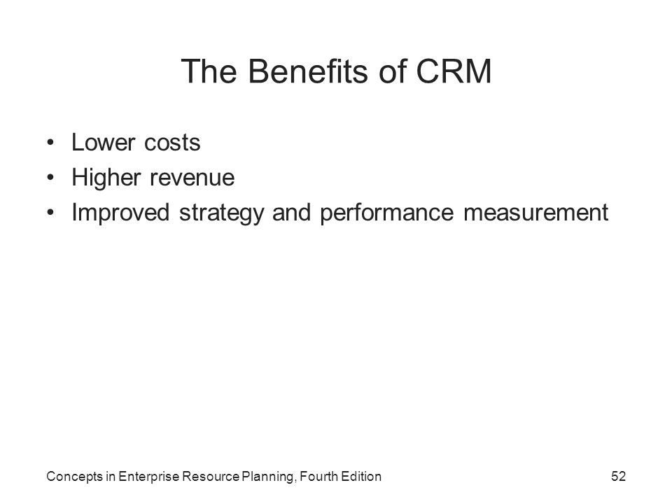 The Benefits of CRM Lower costs Higher revenue