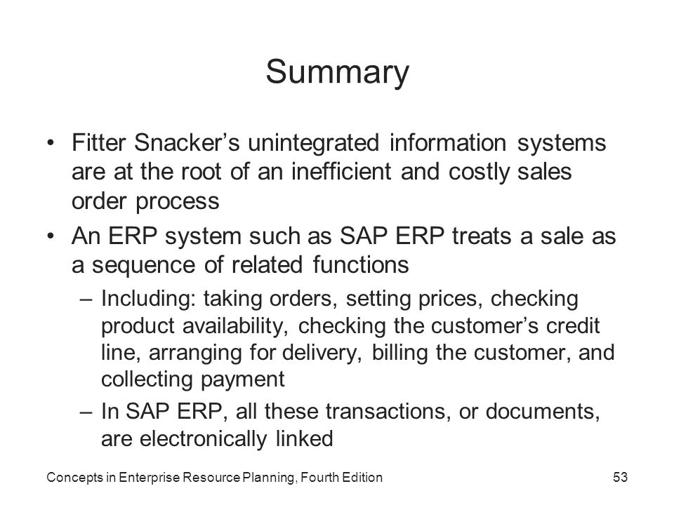 Summary Fitter Snacker's unintegrated information systems are at the root of an inefficient and costly sales order process.