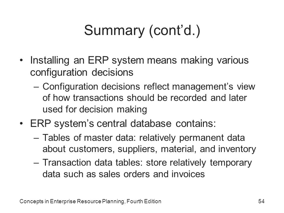 Summary (cont'd.) Installing an ERP system means making various configuration decisions.