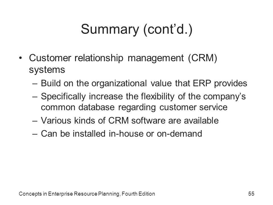Summary (cont'd.) Customer relationship management (CRM) systems