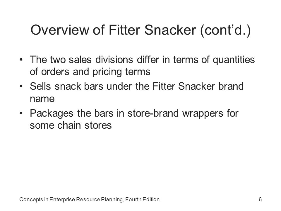 Overview of Fitter Snacker (cont'd.)