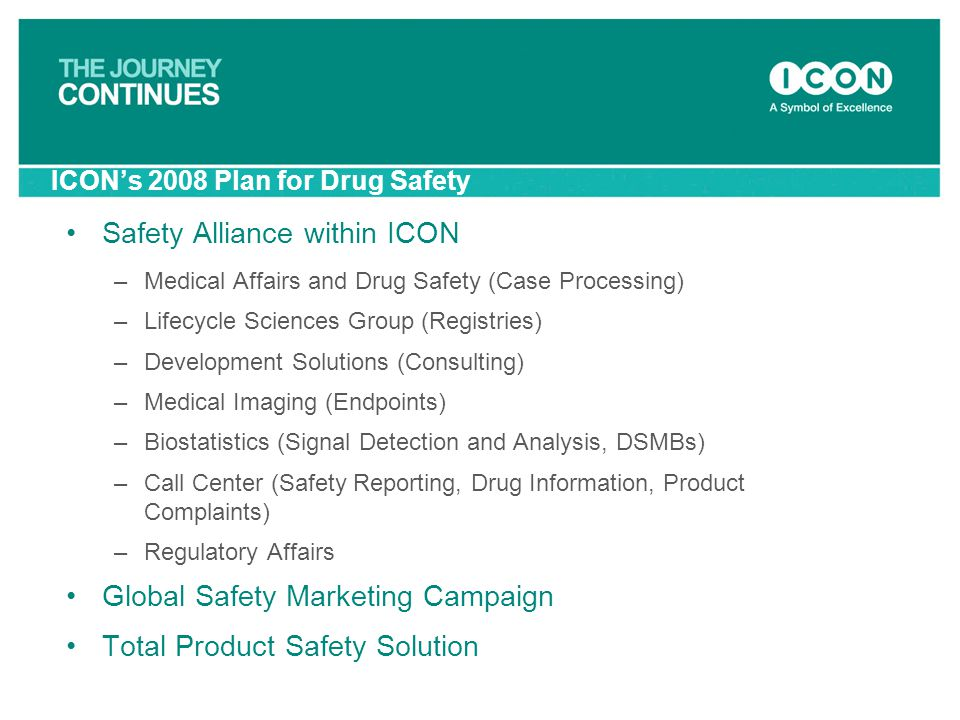 ICON's 2008 Plan for Drug Safety