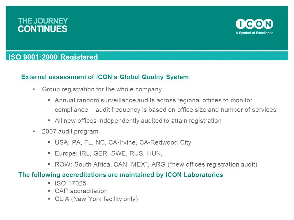 External assessment of ICON's Global Quality System