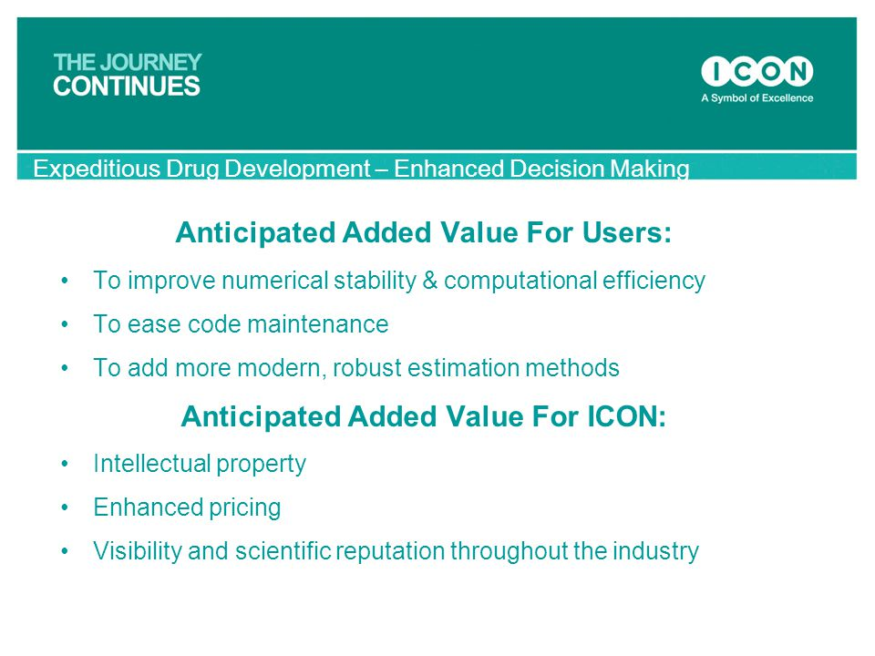 Anticipated Added Value For Users: Anticipated Added Value For ICON: