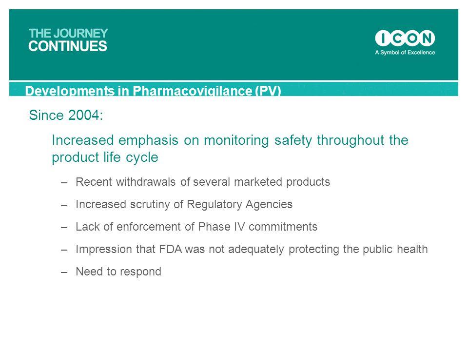 Developments in Pharmacovigilance (PV)