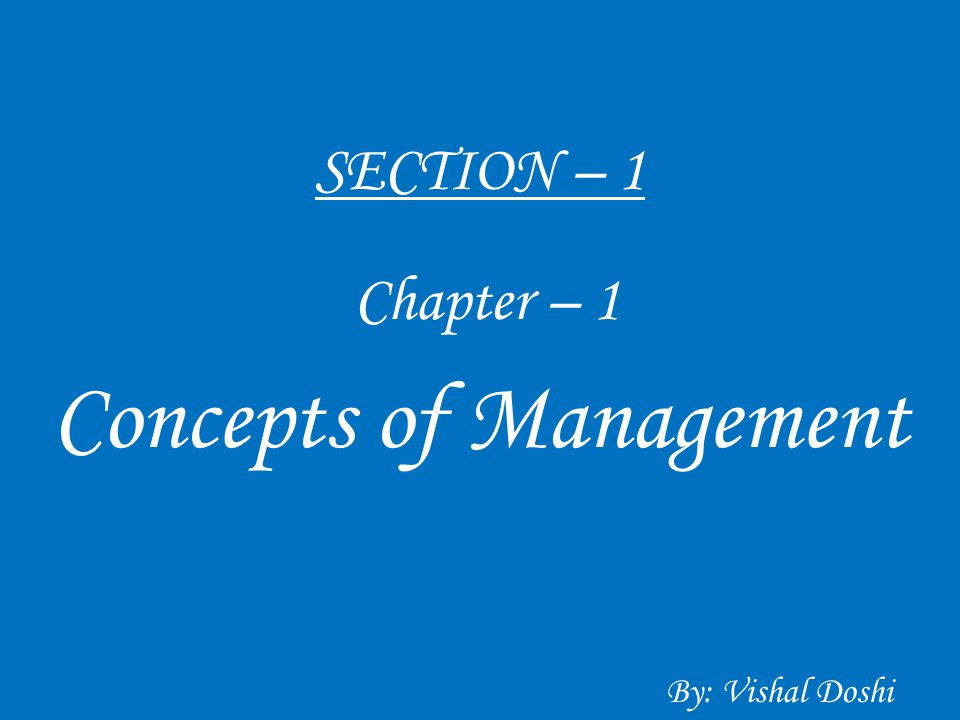 Concepts of Management