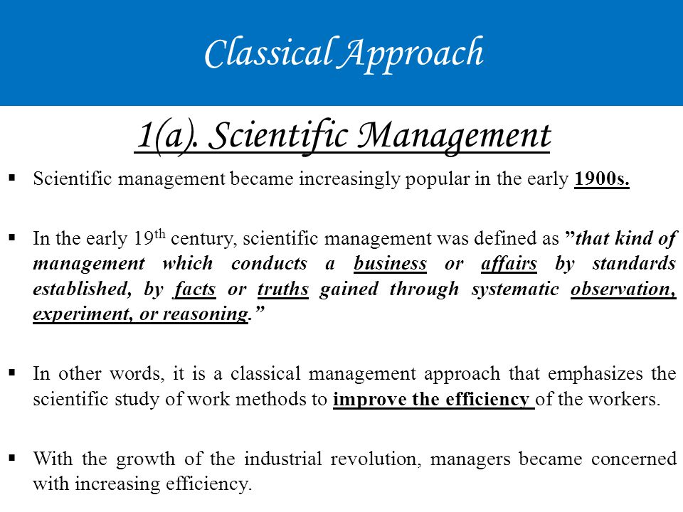 1(a). Scientific Management