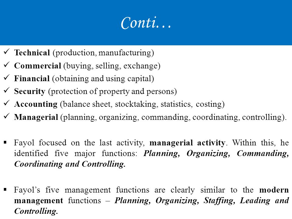 Conti… Technical (production, manufacturing)