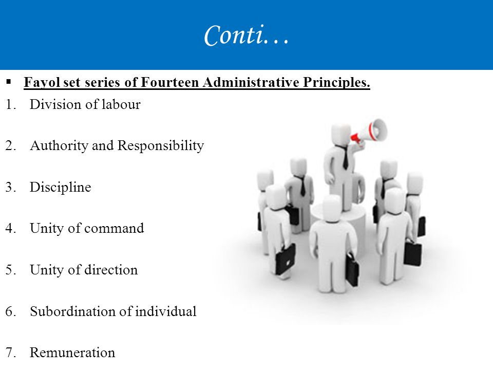Conti… Fayol set series of Fourteen Administrative Principles.