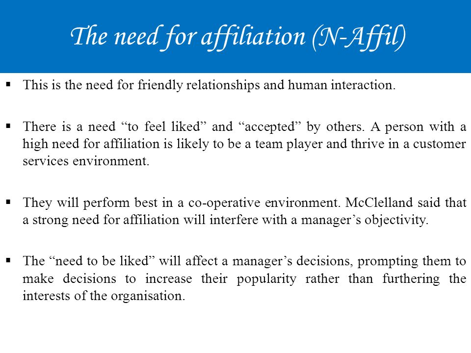 The need for affiliation (N-Affil)