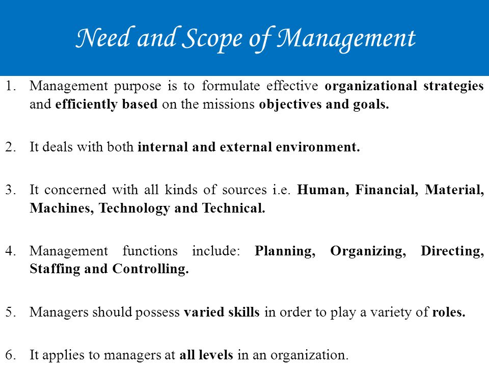 Need and Scope of Management