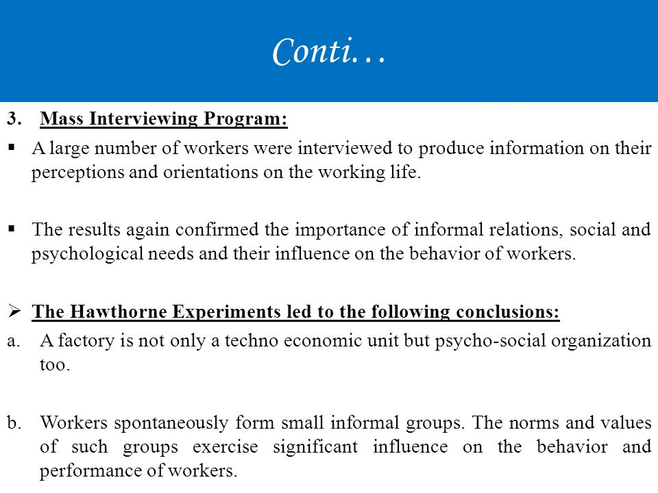 Conti… Mass Interviewing Program:
