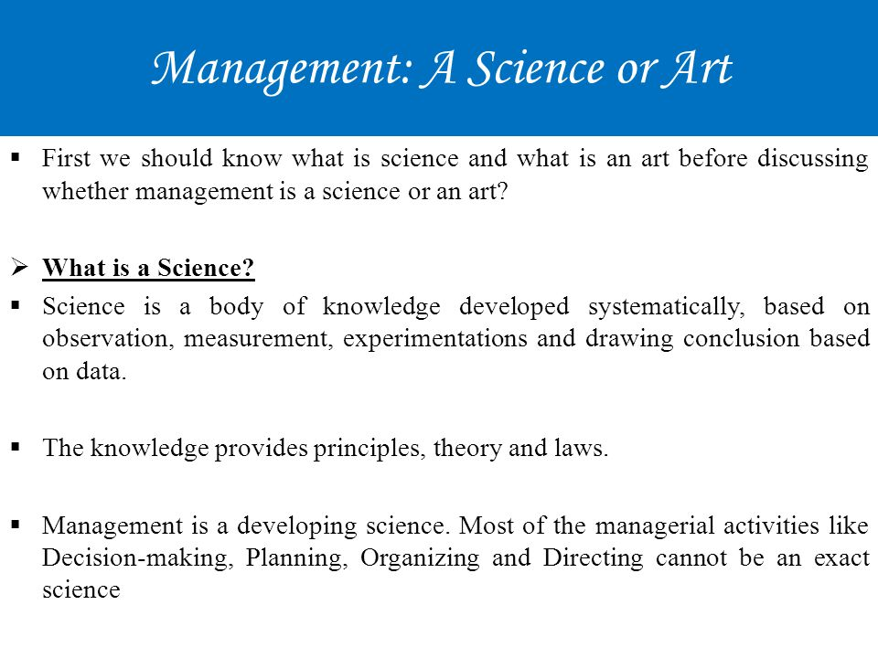 Management: A Science or Art