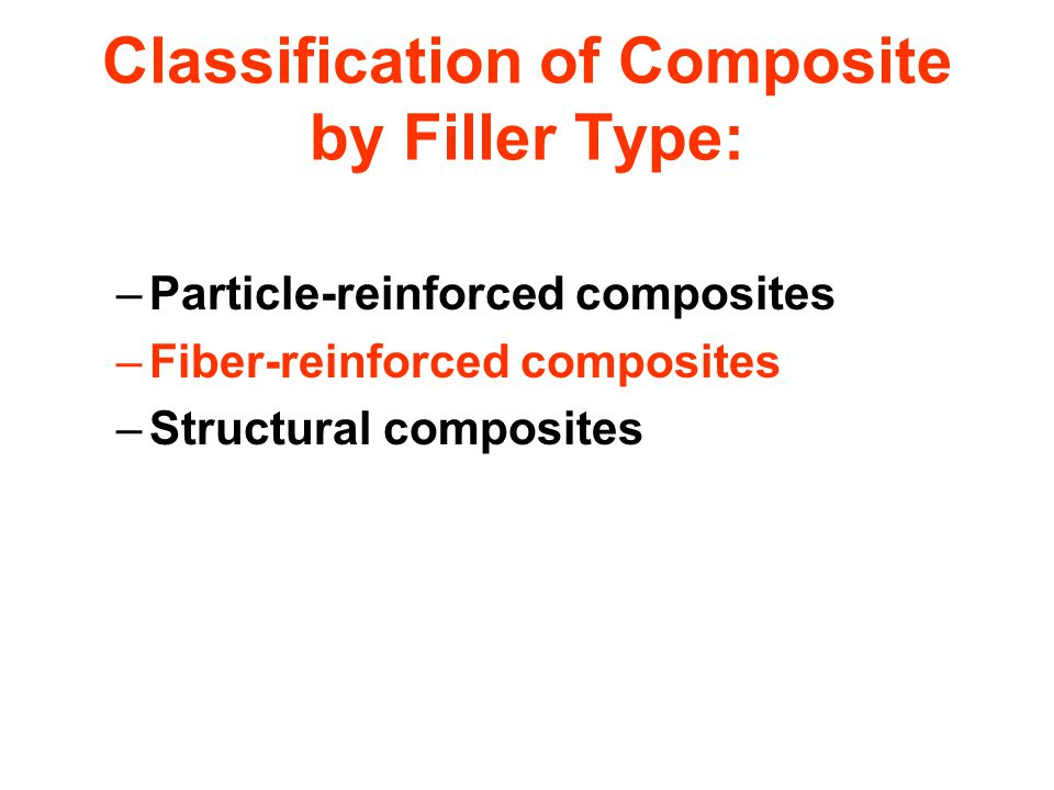 Classification of Composite by Filler Type: