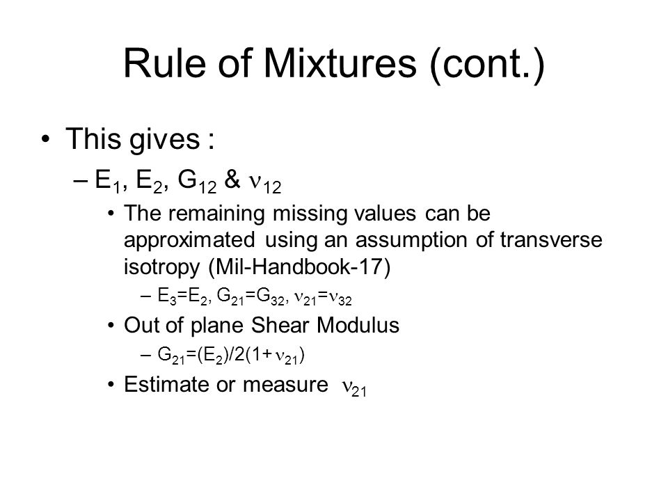 Rule of Mixtures (cont.)