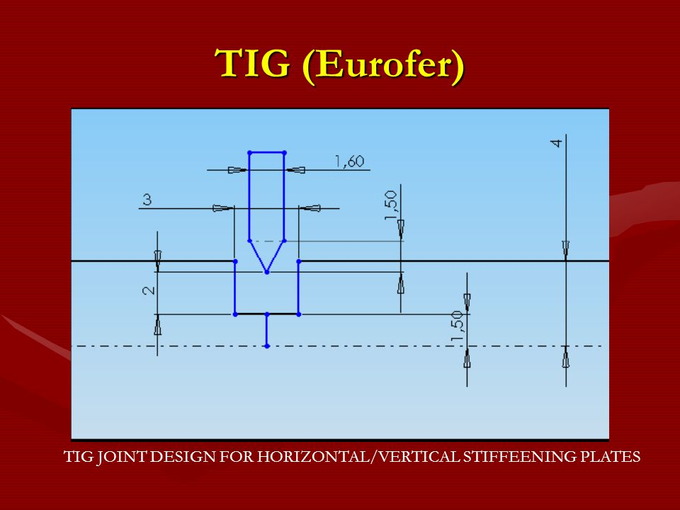 TIG (Eurofer) TIG JOINT DESIGN FOR HORIZONTAL/VERTICAL STIFFEENING PLATES