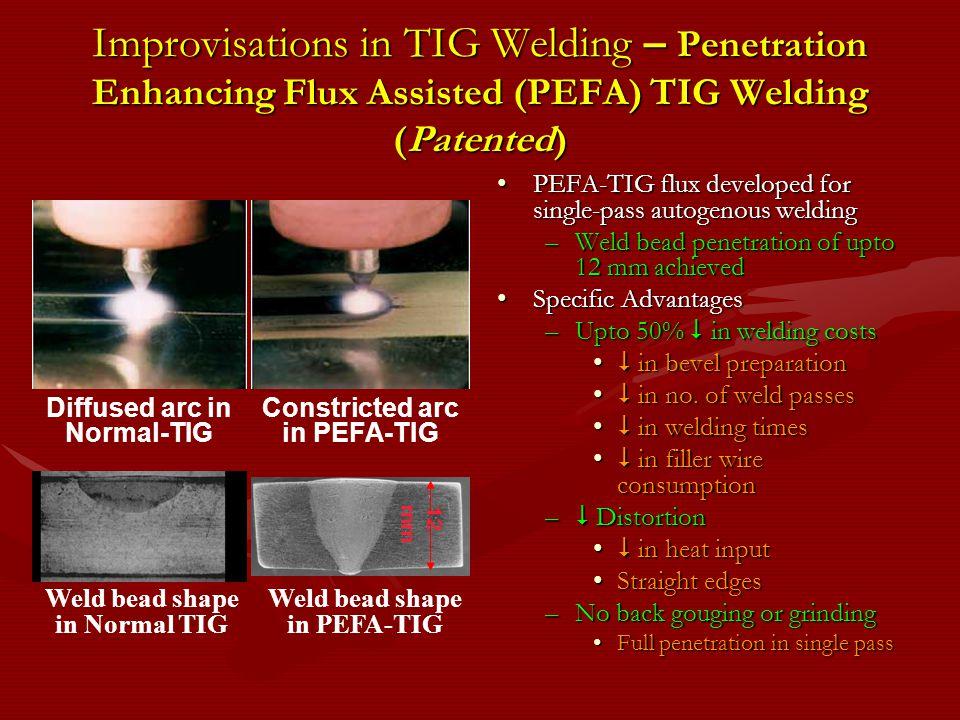 Improvisations in TIG Welding – Penetration Enhancing Flux Assisted (PEFA) TIG Welding (Patented)