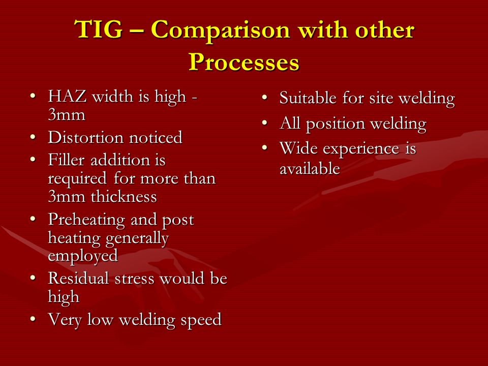 TIG – Comparison with other Processes