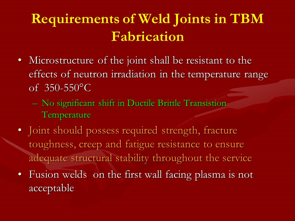 Requirements of Weld Joints in TBM Fabrication