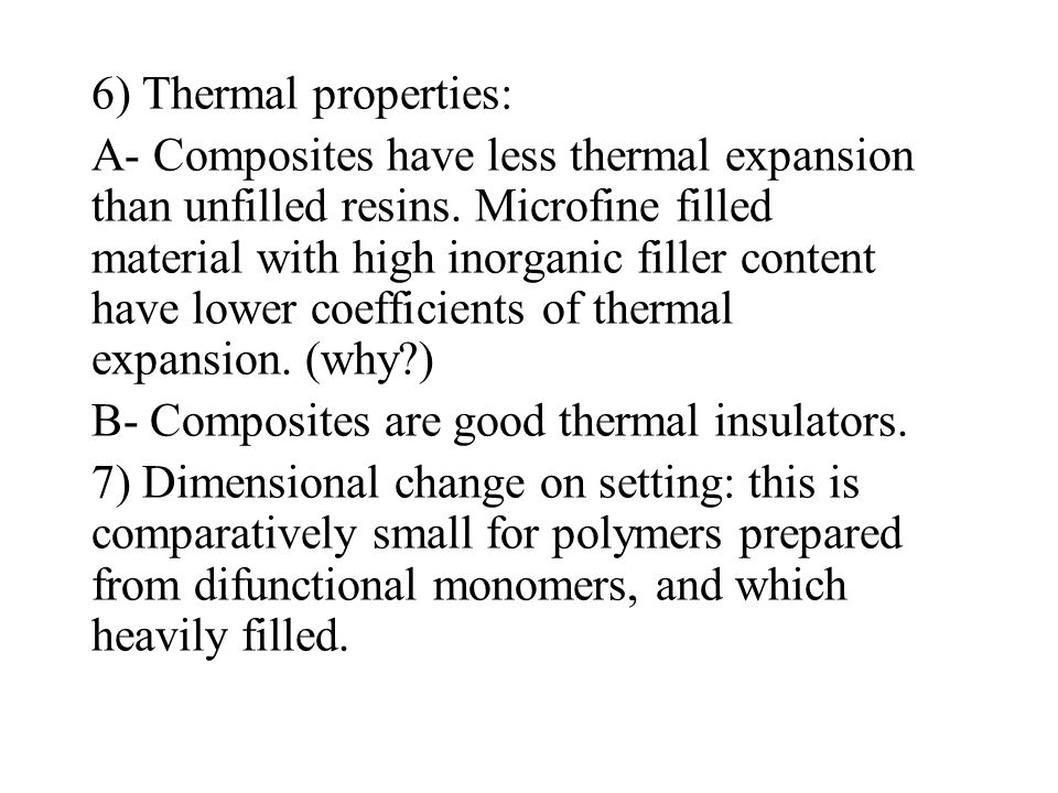 6) Thermal properties: