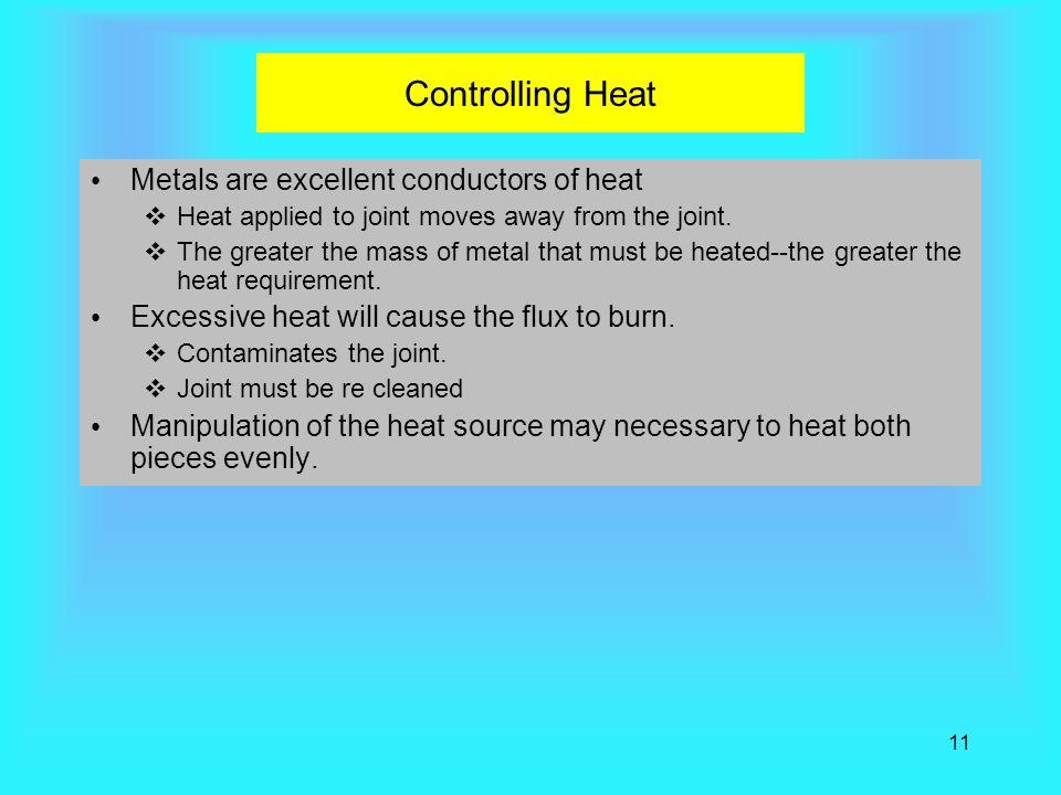 Controlling Heat Metals are excellent conductors of heat