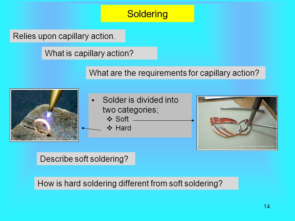 Soldering Relies upon capillary action. What is capillary action