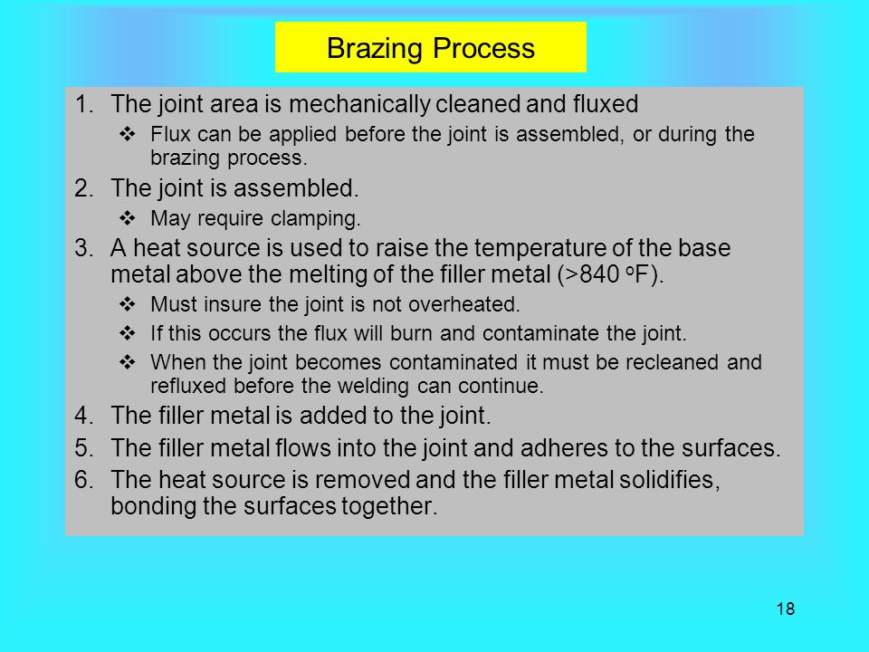 Brazing Process The joint area is mechanically cleaned and fluxed