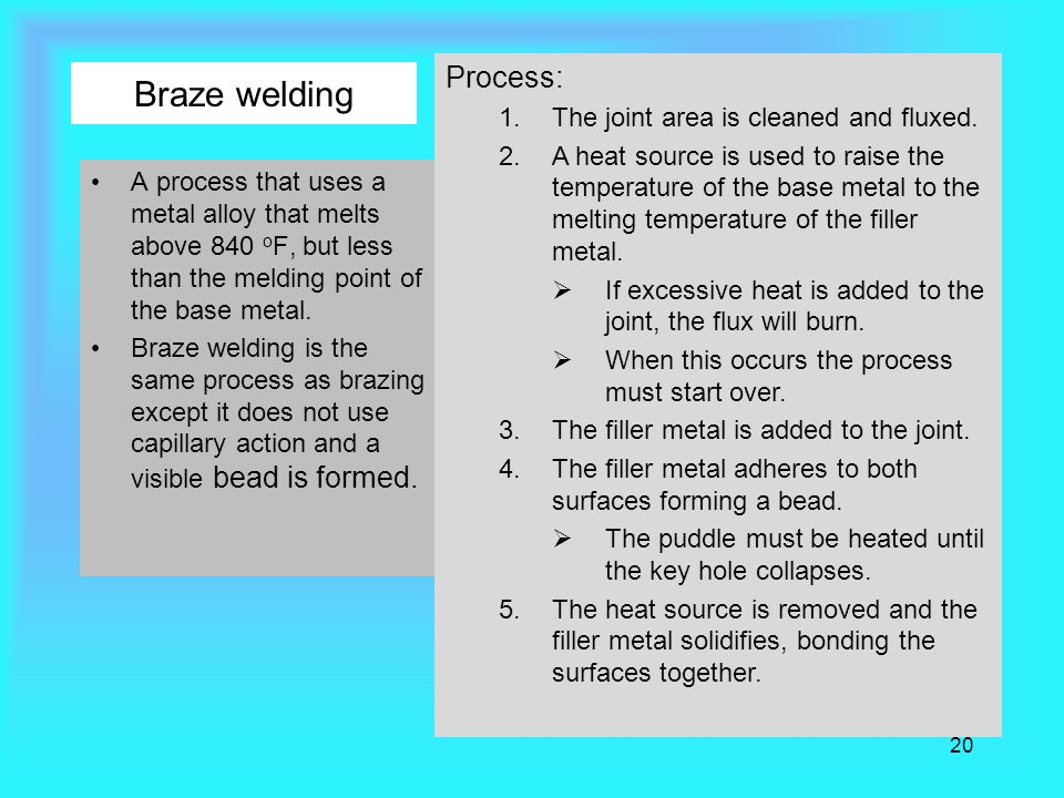Braze welding Process: The joint area is cleaned and fluxed.