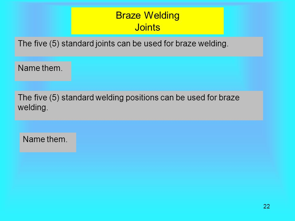 Braze Welding Joints The five (5) standard joints can be used for braze welding. Name them.