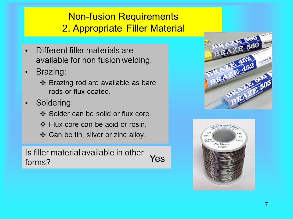 Non-fusion Requirements 2. Appropriate Filler Material