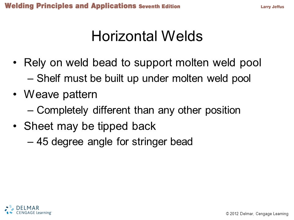 Horizontal Welds Rely on weld bead to support molten weld pool