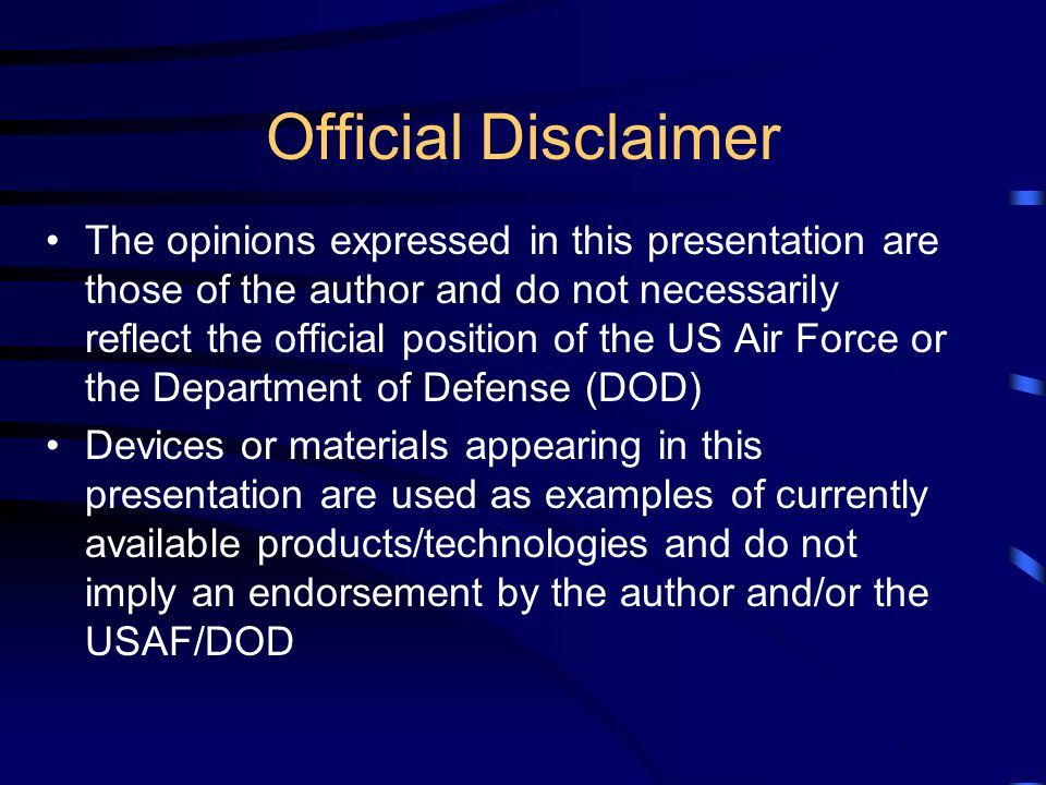Official Disclaimer