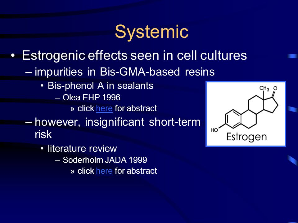 Systemic Estrogenic effects seen in cell cultures