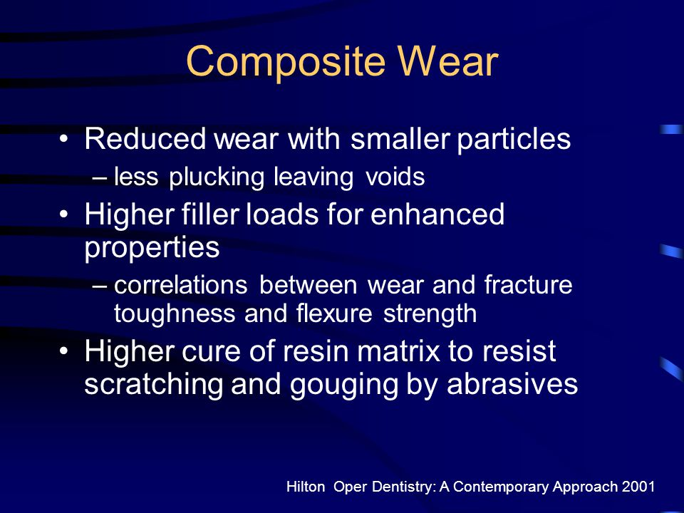 Composite Wear Reduced wear with smaller particles
