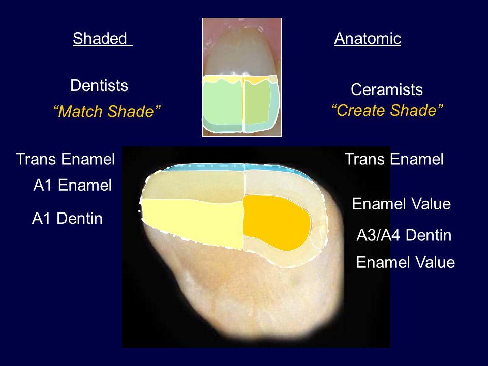 Shaded Anatomic. Dentists. Ceramists. Match Shade Create Shade Trans Enamel. Trans Enamel.