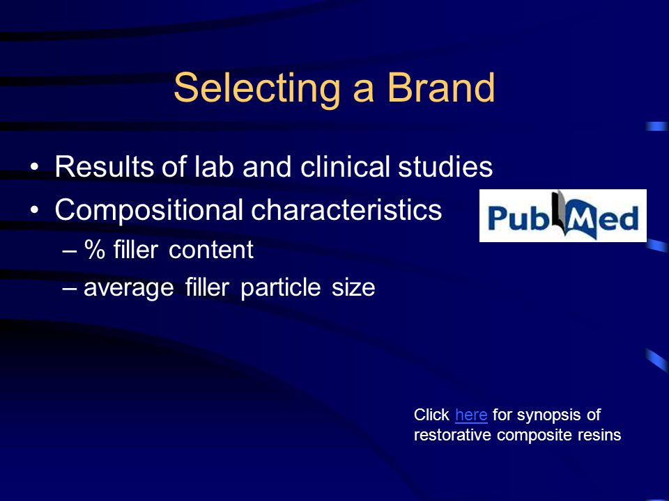 Selecting a Brand Results of lab and clinical studies