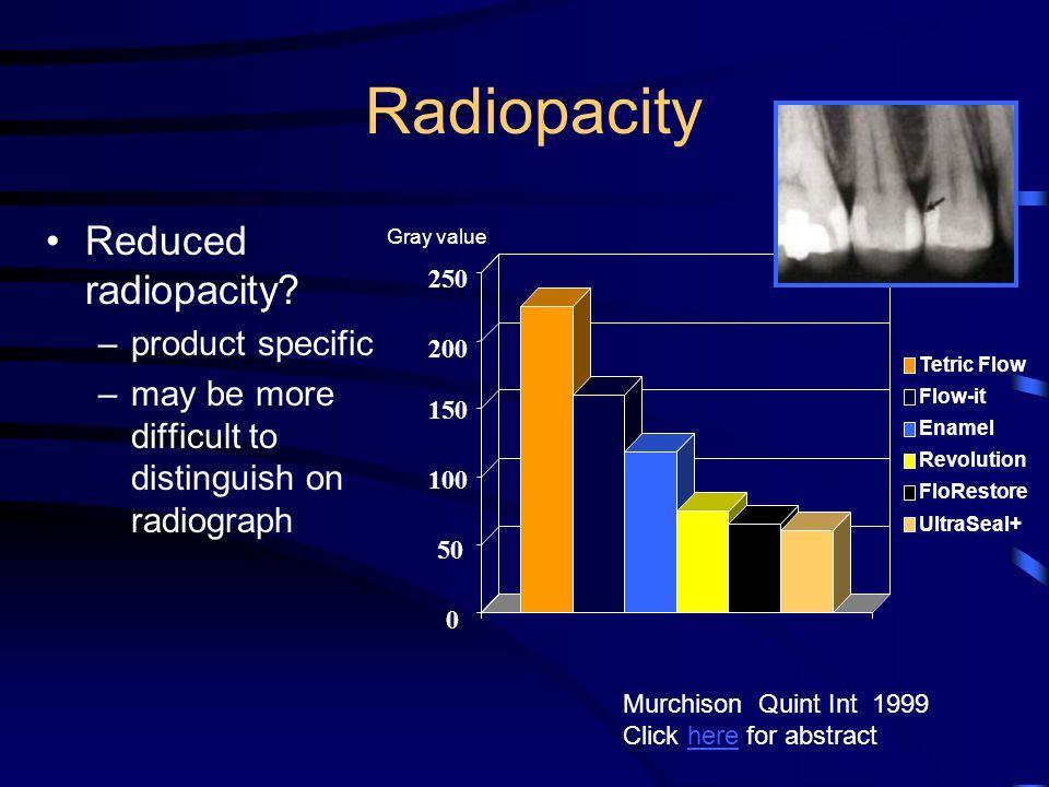 Radiopacity Reduced radiopacity product specific